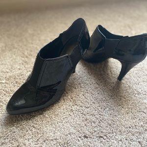 Black short boot heel